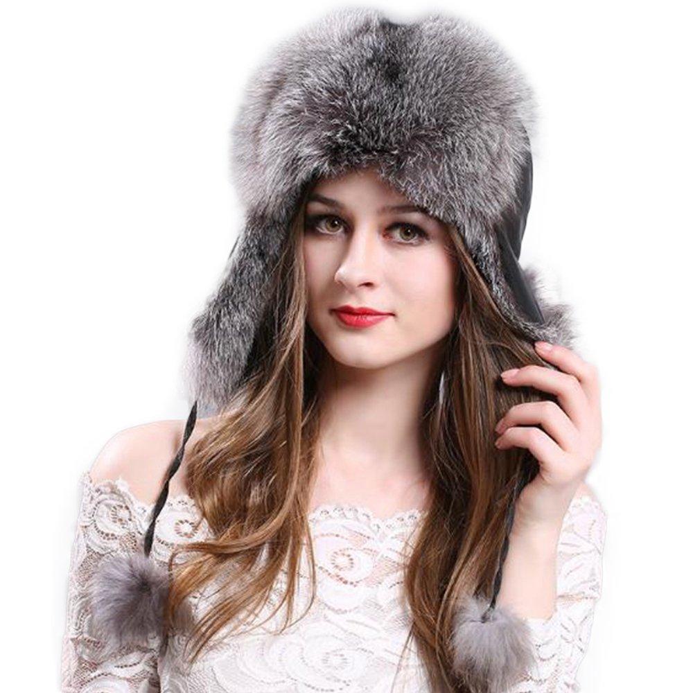 Manka Vesa Women's Real Fox Fur Hats Sheep Leather Earmuffs Warm Winter Hats Dark Grey