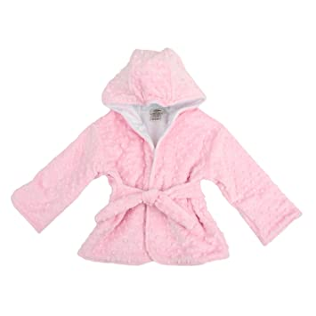 Amazon.com   Hooded Minky Dot Bath Robe Pink 6-12 Months   Baby 4bee9f173