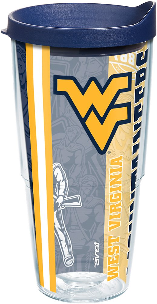 Tervis 1215060 West Virginia Mountaineers College Pride Tumbler with Wrap and Navy Lid 24oz, Clear
