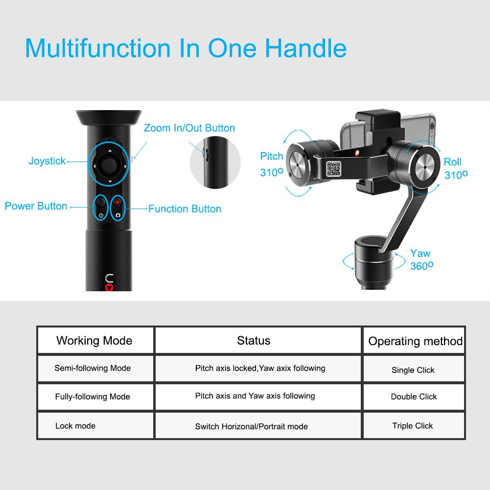 OFFICIAL AIbird Uoplay2 3 Axis Handheld Universal Smartphone Steady Gimbal Stabilizer for iPhone 8 and 8 Plus and Samsung Huawei Xiaomi GoPro Hero 3 4 ...