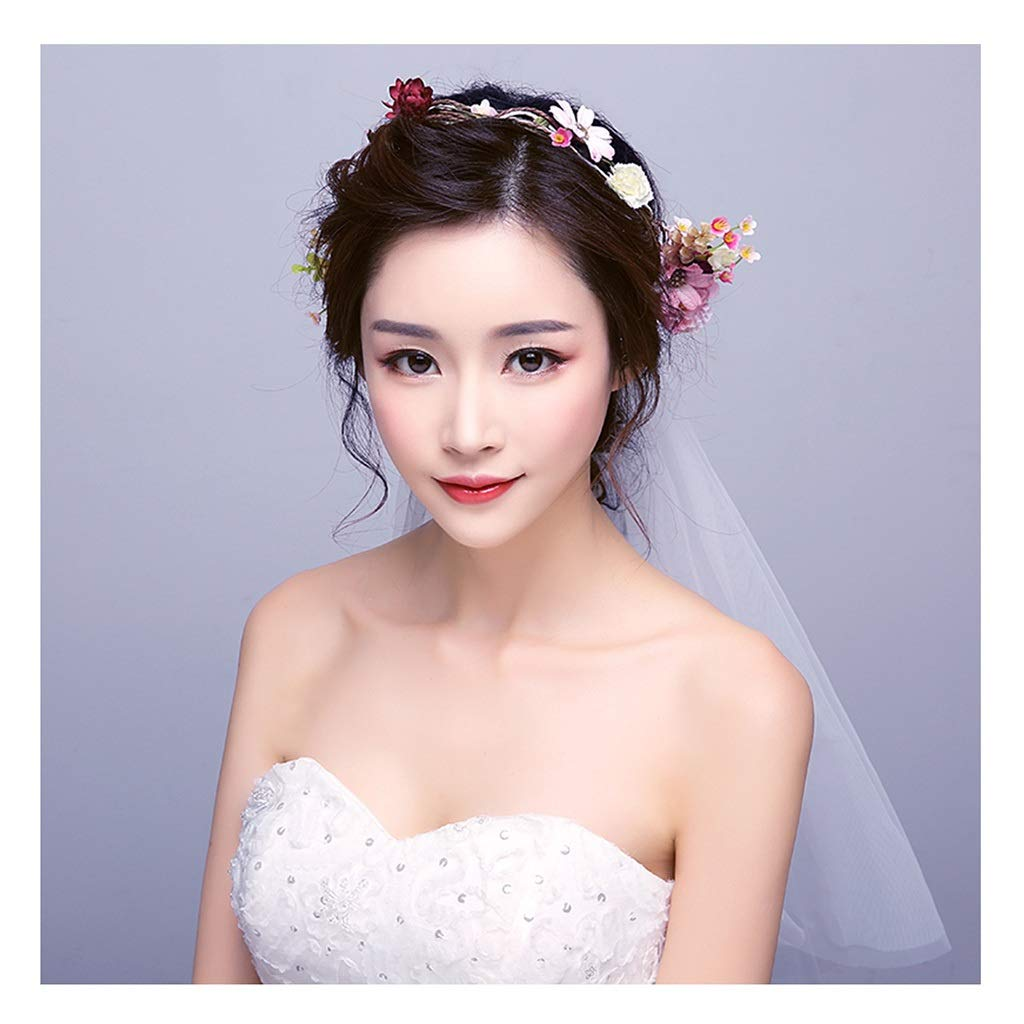 Wreath Flower Hair Band Handmade Flower Veil Korean Bride Tiara Seaside Holiday Photo Photo Headband Hair Accessories