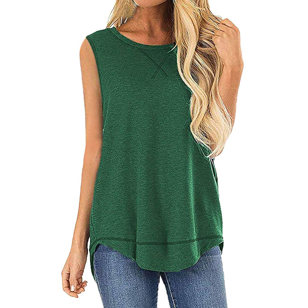 Deals Tank Tops for Women Casual Summer Sleeveless Stitched Detail Blouses Splice Shirts Tops Green
