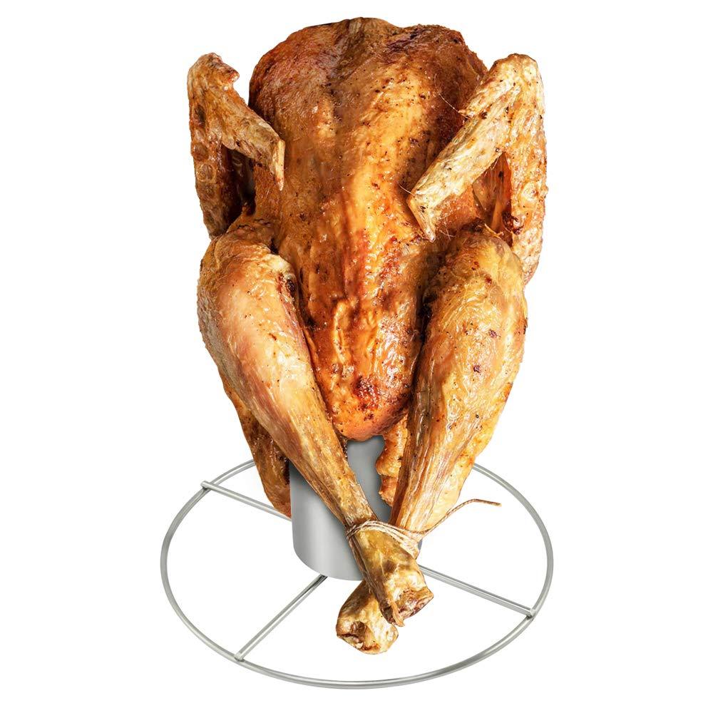 COM-FOUR® Asado de pollo de acero inoxidable, asado a la parrilla para cocinar pollo entero en el horno o en la parrilla con recipiente de aroma (01 ...