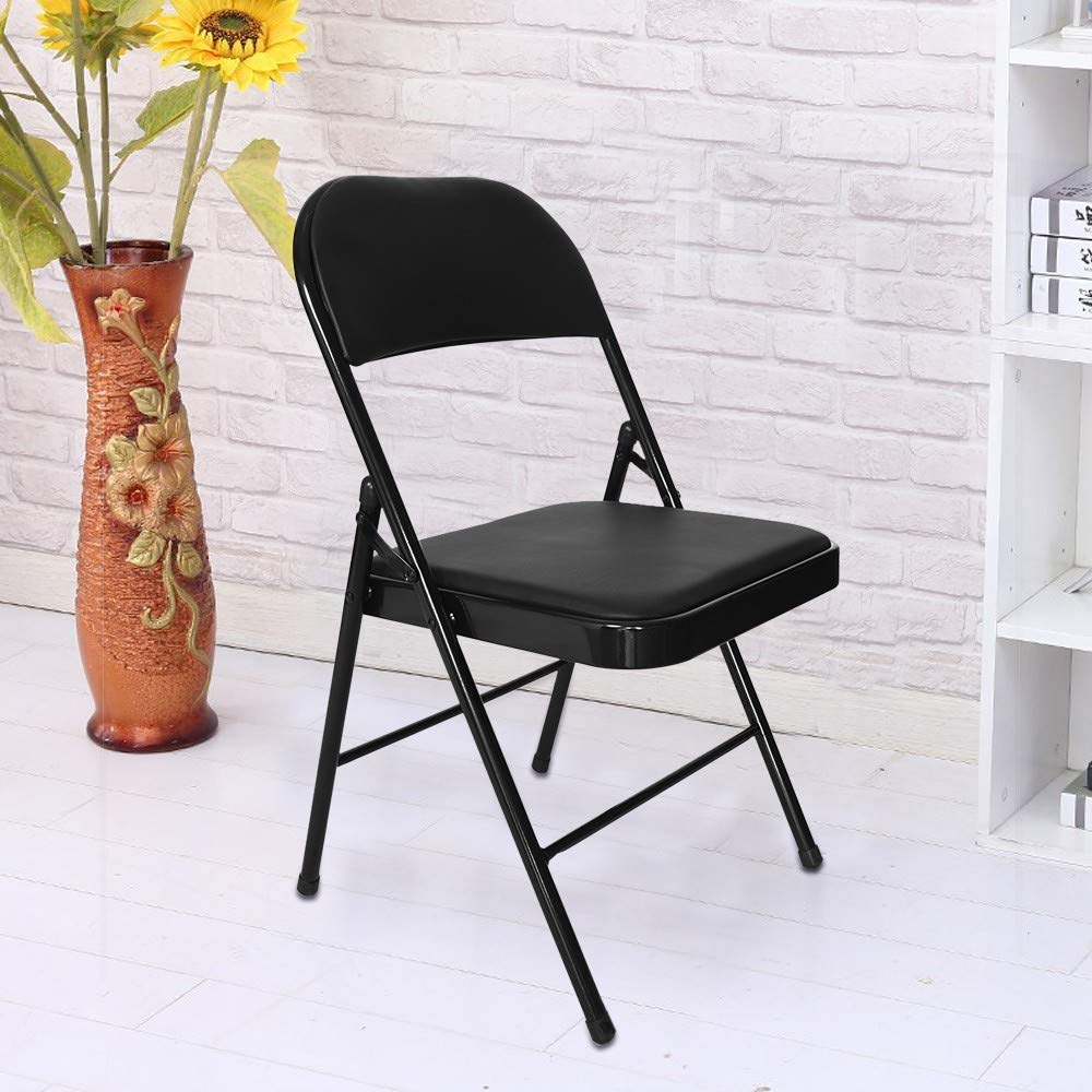 Multifunctional Chair with Backrest,Lefthigh Super Load-Bearing Backrest Folding Chair Steel Plate Base Leisure Office Stool by Lefthigh (Image #3)