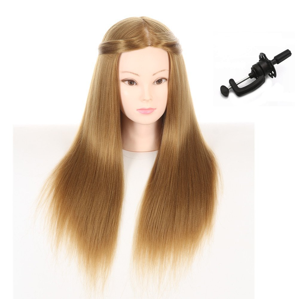 Testa di manichino per la pratica dei parrucchieri con capelli sintetici lunghi 66cm BoLi