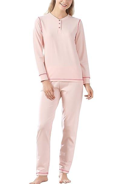 Dolamen Pijamas para Mujer, Pijamas Mujer Invierno, Mujer Camisones Pijamas de Parejas, Algodón