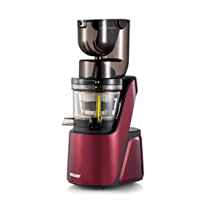 BioChef Quantum Whole Slow Juicer - With powerful 300 W motor, wide chute (3.15 x 3.15 inch) & many accessories in burgundy