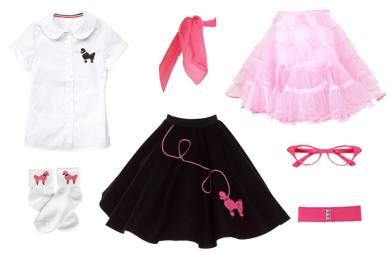 Hip Hop 50s Shop 7 Piece Child Poodle Skirt Outfit, Size 10 Black w/ Pink