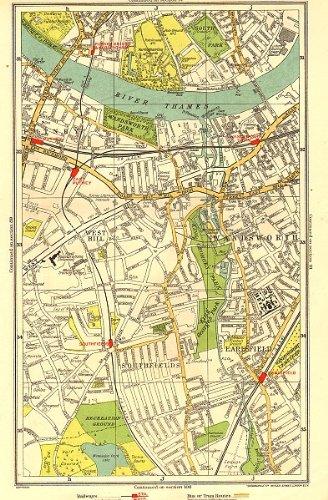 WANDSWORTH: Putney,Southfields,Parson's Green,Earlsfield,West Hill, 1937 map