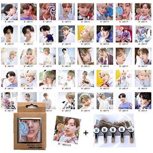 BTS Photocard Set | Bangtan Boys BTS Postcards, BTS Greeting Card, BTS Picture Card for Army Fans | eKoi BTS Lomo Card KPOP Merchandise - 40PC Photo Card, 10 Peg Clips, String Pack