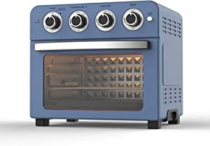 Air Fryer Convection Toaster Oven Combo 24QT Airfryer Countertop Auto Shut-Off, 60 Min Timer, Roast, Bake, Broil, Reheat, Fry Oil-Free, Nonstick Interior, Easy to Clean, Cooking Accessories Included, Stainless Steel , Blue, 1700W
