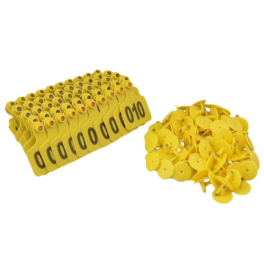 Doublelife 100PCS Cattle Livestock Metal Goat Ear Tag Animal Tool Plier (Yellow with Numbers) by Doublelife