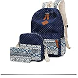 Tincon-Z Geometry Polka Dots Casual Canvas Bagpacks, Cute Lightweight Canvas Laptop Bag Shoulder Bag School Backpack (navy)