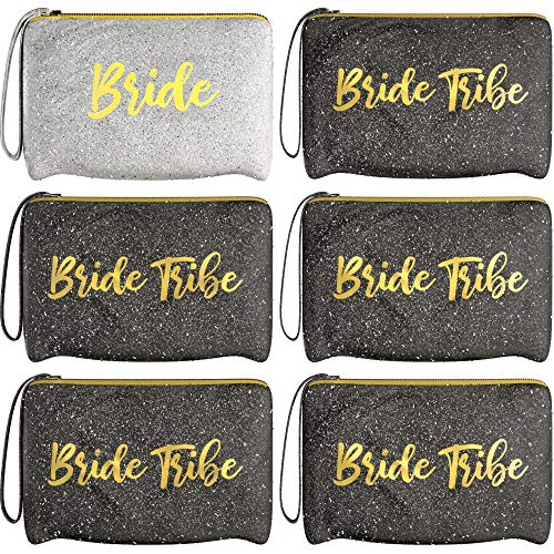 6 Piece Set   Black & Silver GLITTER Bride Tribe Bridesmaid Canvas Cosmetic Makeup Clutch   Purse Gifts Bag for Women…