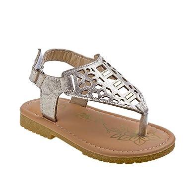 97156cf96e16 Petalia Little Girls Gold Shiny Perforated Flip Flop Sandals 8 Toddler
