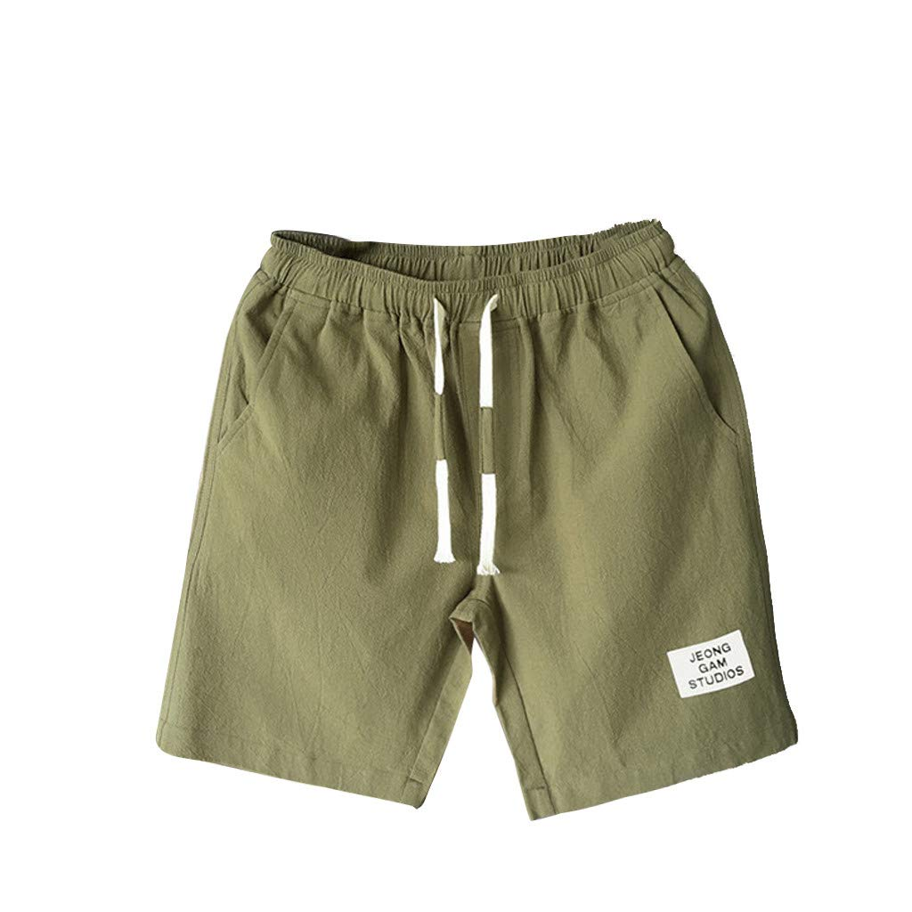 Giulot Men's Classic Fit Casual Fleece Jogger Gym Workout Short Pants with Elastic Waist Athletic Gym Sweat Shorts Army Green by Giulot (Image #1)