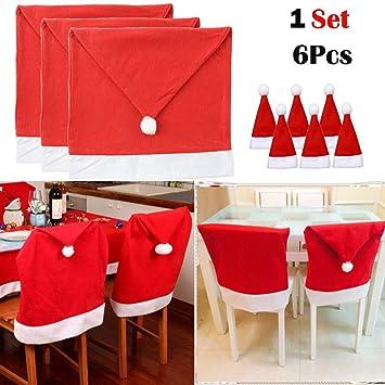 235a7860ebd25 Amazon.com   Lovewe 6PCS Christmas Santa Red Hat Chair Covers ...