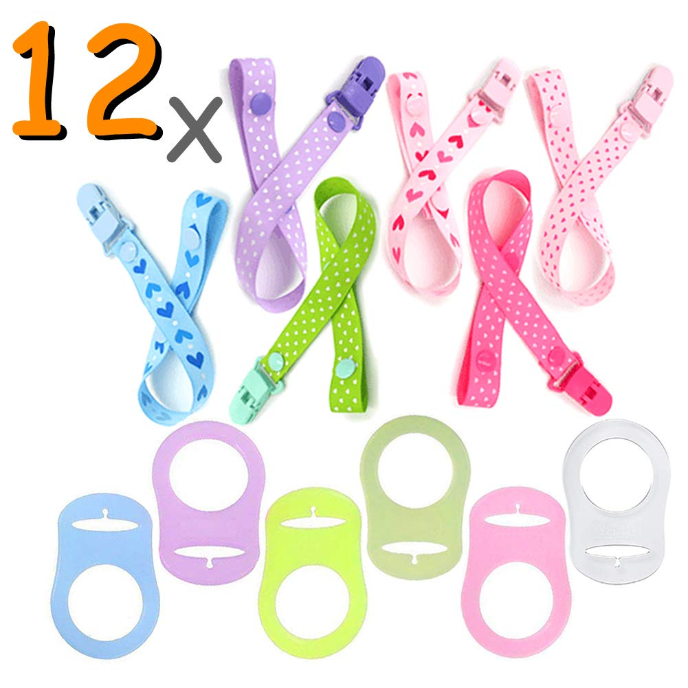 Dummy Clips Baby Pacifier Clips (12 pcs) Soother Clip with Silicone Button Ring JAANY JAY
