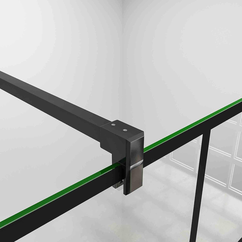 80x200cm Mamparas de ducha pantalla panel fijo estilo industrial negro con cuadrados cristal antical 8mm con Barra2 90cm