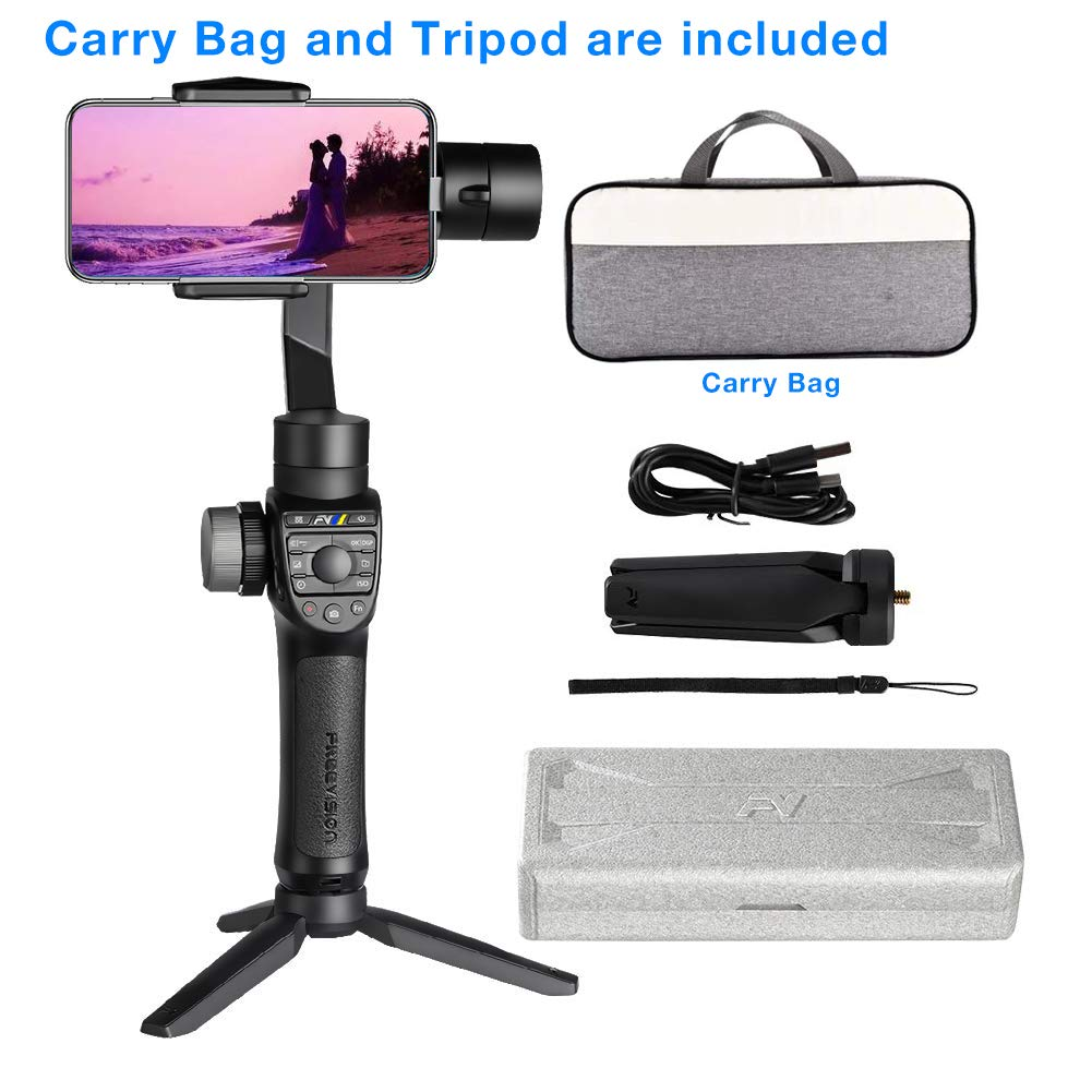 Freevision Vilta-M Pro 3-Axis Handheld Stabilizer Gimbal for iPhone, Samsung, Premium Stability Performance, Double Wheel, Mark A/B Focus Point Setting, Wireless Charging,Provide Tripod and Carry Bag by Freevision