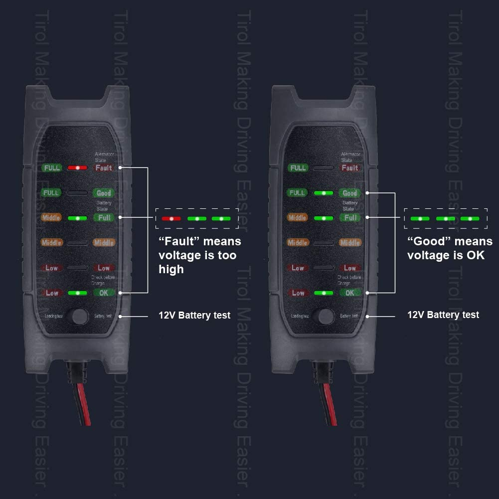 6 Led Display Battery Tester 12V Battery Loading Capacity Checking with Multi-Function Automatic Electronic Tester for Dynamo