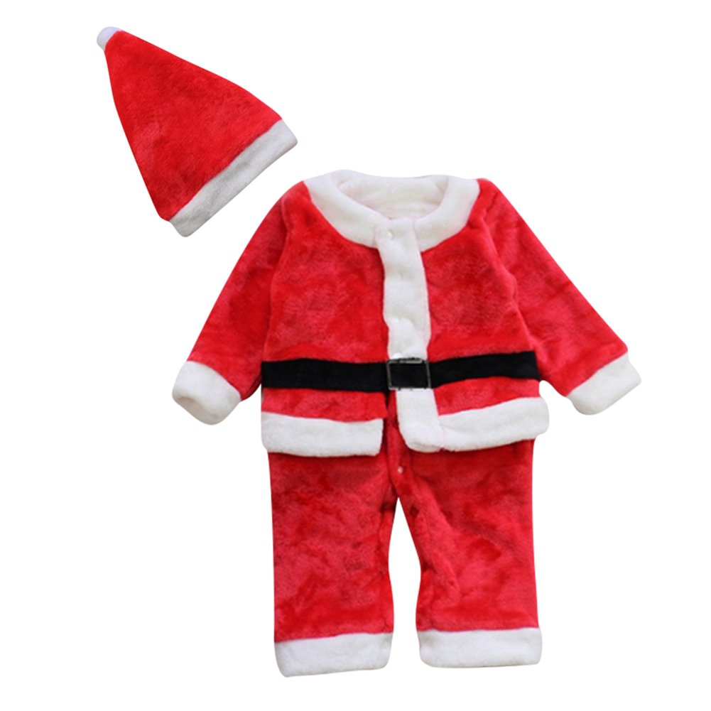 Le SSara Winter Baby Christmas Romper Newborn Bodysuit Costume Outfit Hat 2pcs (12-18 Months) HY-160902