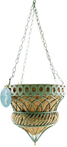 "Austram | Queen Anne Parasol Planter Green 14"" Metal Hanging Flower Pot Planter Basket 