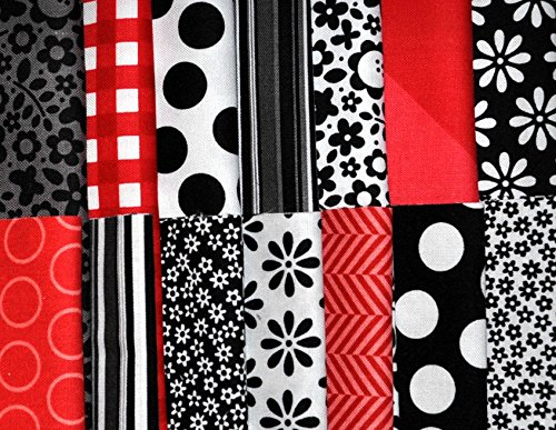 "Designer Fabric 5"" Squares Charm Pack, Black, White, and Red, 56 pieces, 100% cotton from Heart and Home Fabrics"