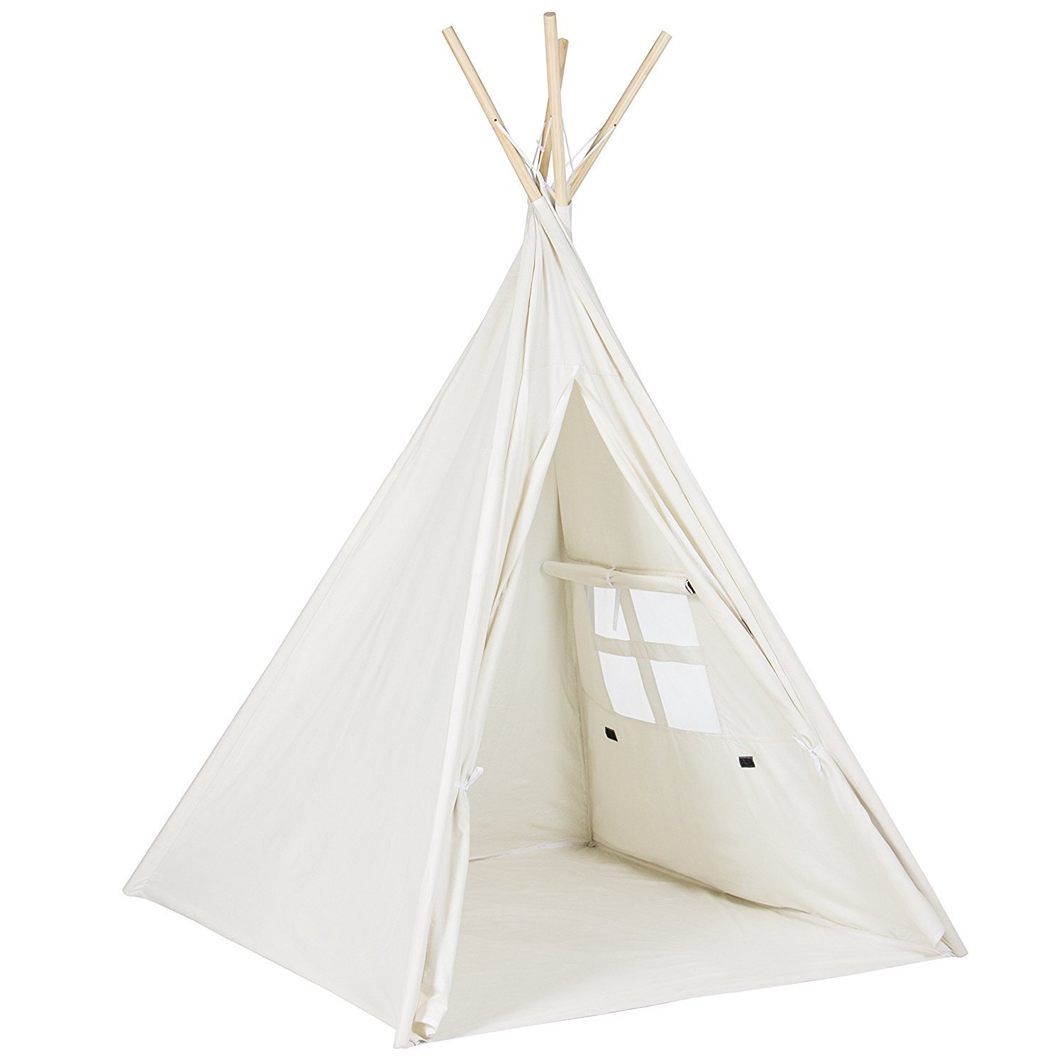 Porpora Indoor Indian Playhouse Toy Teepee Play Tent for Kids Toddlers Canvas with Carry Case, Off White