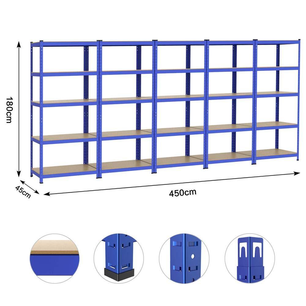 Steckregal Kellerregal Metall Regal Regalsystem Yaheetech 5x Schwerlastregal 180 x 90 x 45 cm Traglast bis 265 kg pro Fachboden