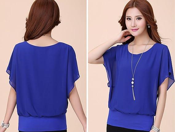 Blusa Feminina Summer Casual Plus Size Slim Batwing sleeve Chiffon Shirt Blouse at Amazon Womens Clothing store: