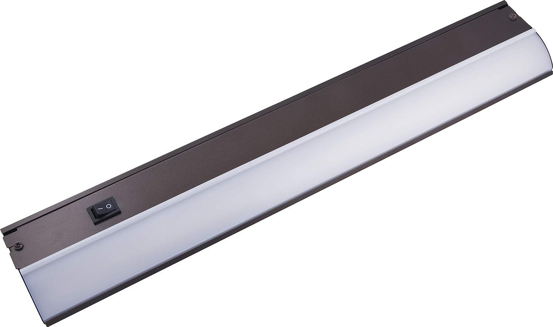 GE 24 Inch LED Premium Under Cabinet Light Fixture, Bronze Finish, Direct Wire, Warm White 3000K, 991 Lumens, Steel Housing, On/Off Switch, Kitchen, Office, Vanity, Display, Garage, Workbench, 38889