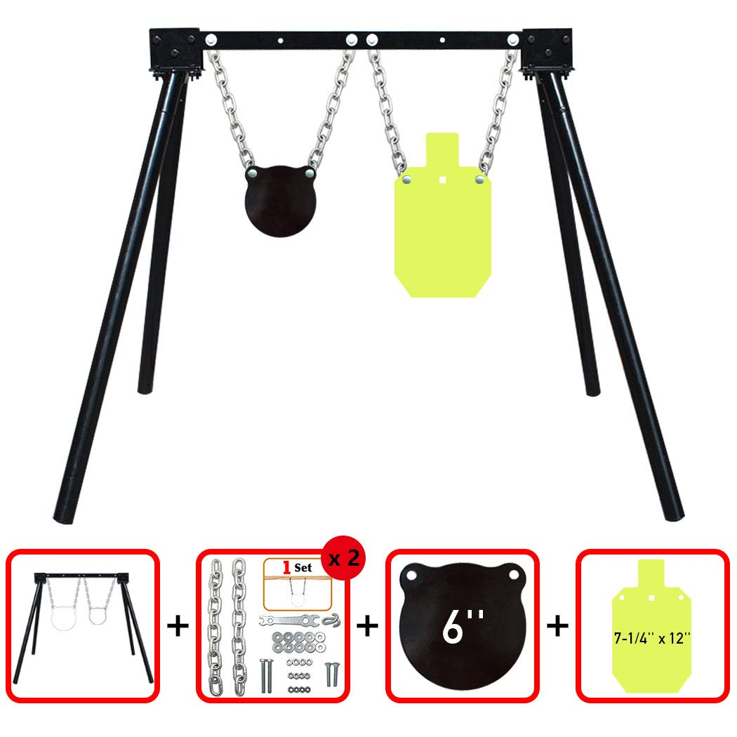 """Highwild AR500 Steel Shooting Target System (1 Stand, 2 Chain Sets & 6""""Gong + 7-1/4''x 12'' Torso)"""