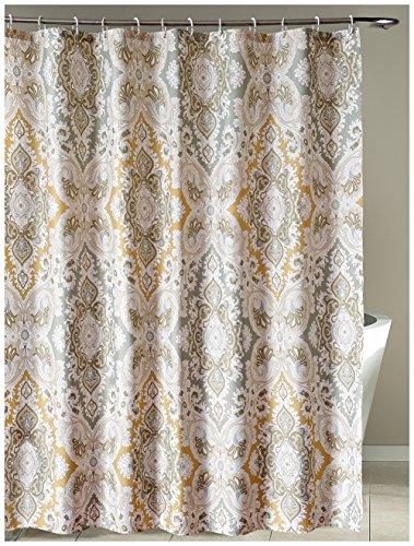 LanMeng Fabric Shower Curtain Classic Paisley Design, Grey B