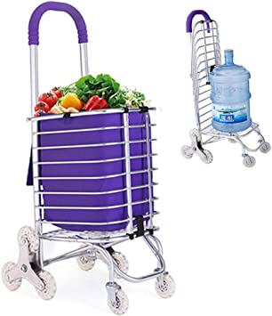 LNDDP Carrito Compras Plegable Utilitario Tránsito Escalera Carrito para Subir Carritos supermercado con Ruedas giratorias, Marco Aluminio Almacenamiento Conveniente, Púrpura: Amazon.es: Deportes y aire libre