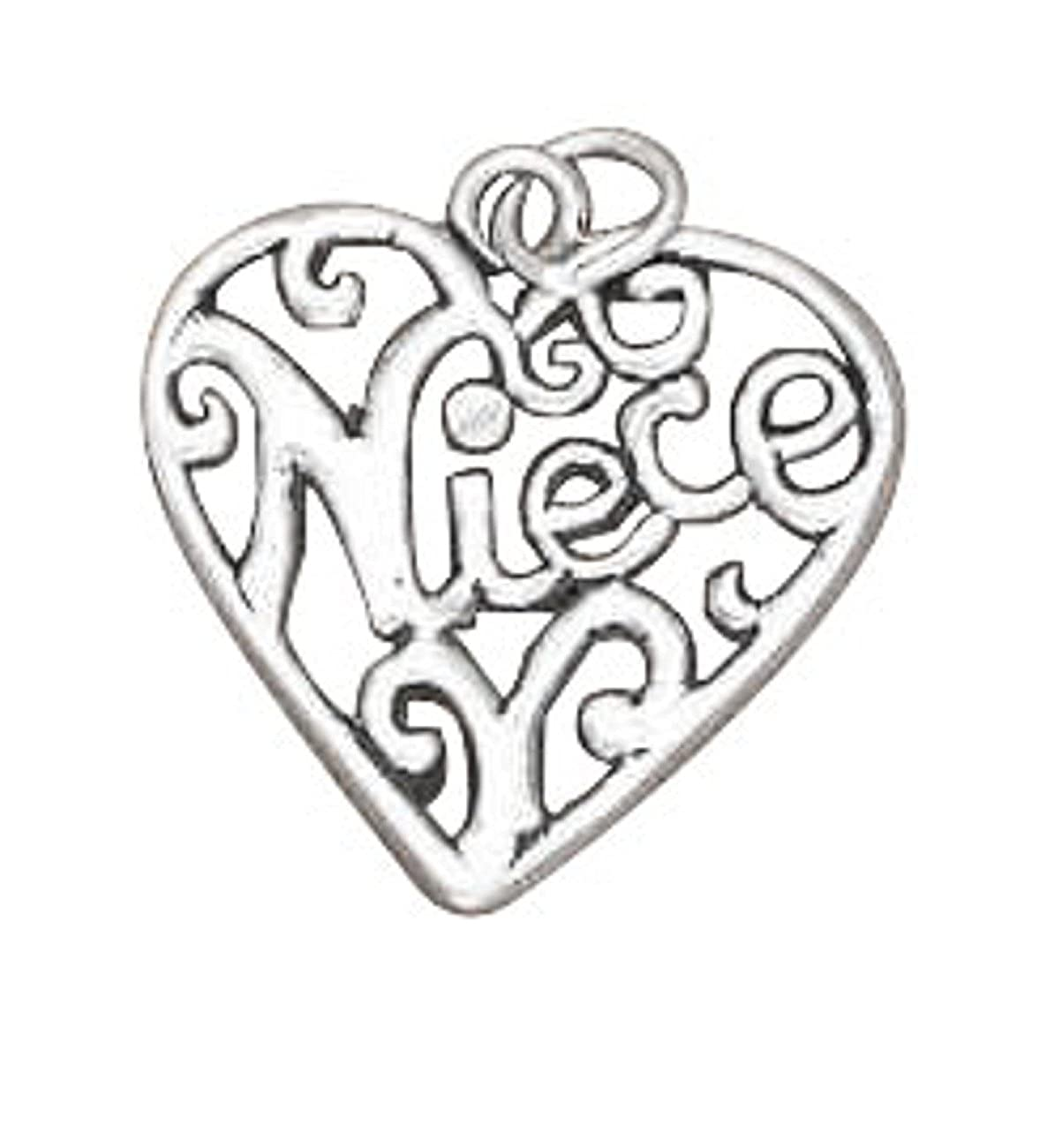 Sterling Silver Girls .8mm Box ChainNIECE Open Filigree Heart Pendant Necklace