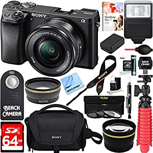 Sony ILCE-6500 a6500 4K Mirrorless Camera (Black) w/ 16-50mm Power Zoom Lens + 64GB Accessory Bundle + DSLR Photo Bag + Extra Battery + Wide Angle Lens+2x Telephoto Lens + Flash + Remote + Tripod