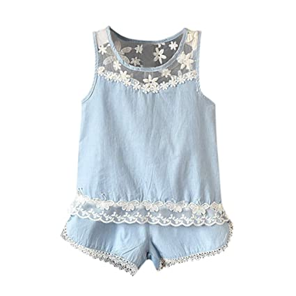 Toddler Baby Kid Girl Outfits Lace Blouse Tank Tops T-shirt Vest+Shorts Pants