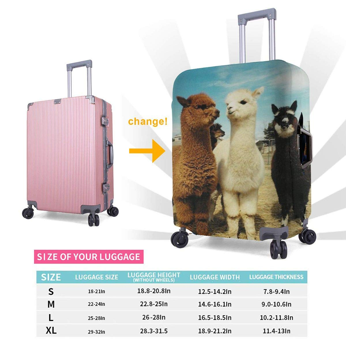 Travel Luggage Cover Spandex Suitcase Protector Washable Baggage Protective Covers Cute Llamas Fluffy Alpaca Fits 18-32 Inch