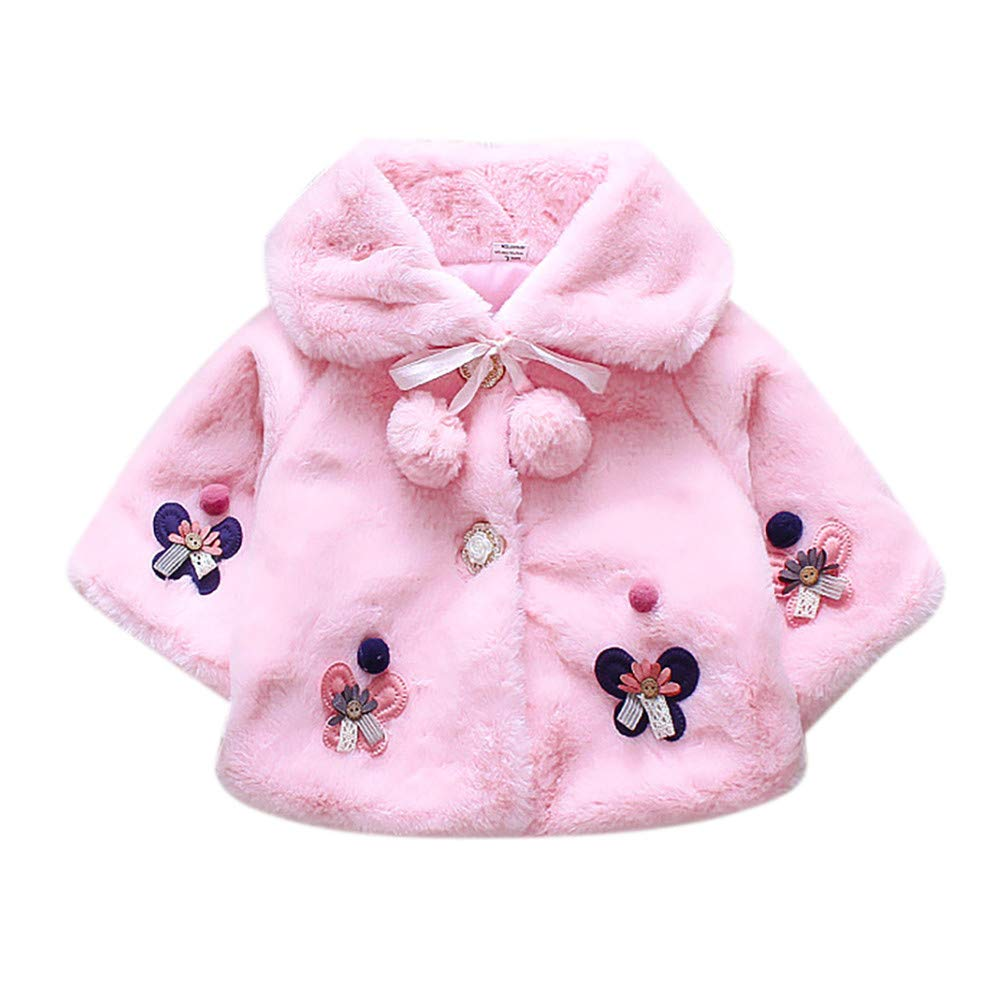 Zerototens Baby Girls Coat, 1-4 Years Old Toddler Infant Girls Cute Long Sleeve Butterfly Flower Cloak Jacket Autumn Winter Thick Warm Plush Coat Windproof Trench Coat Casual Outwear