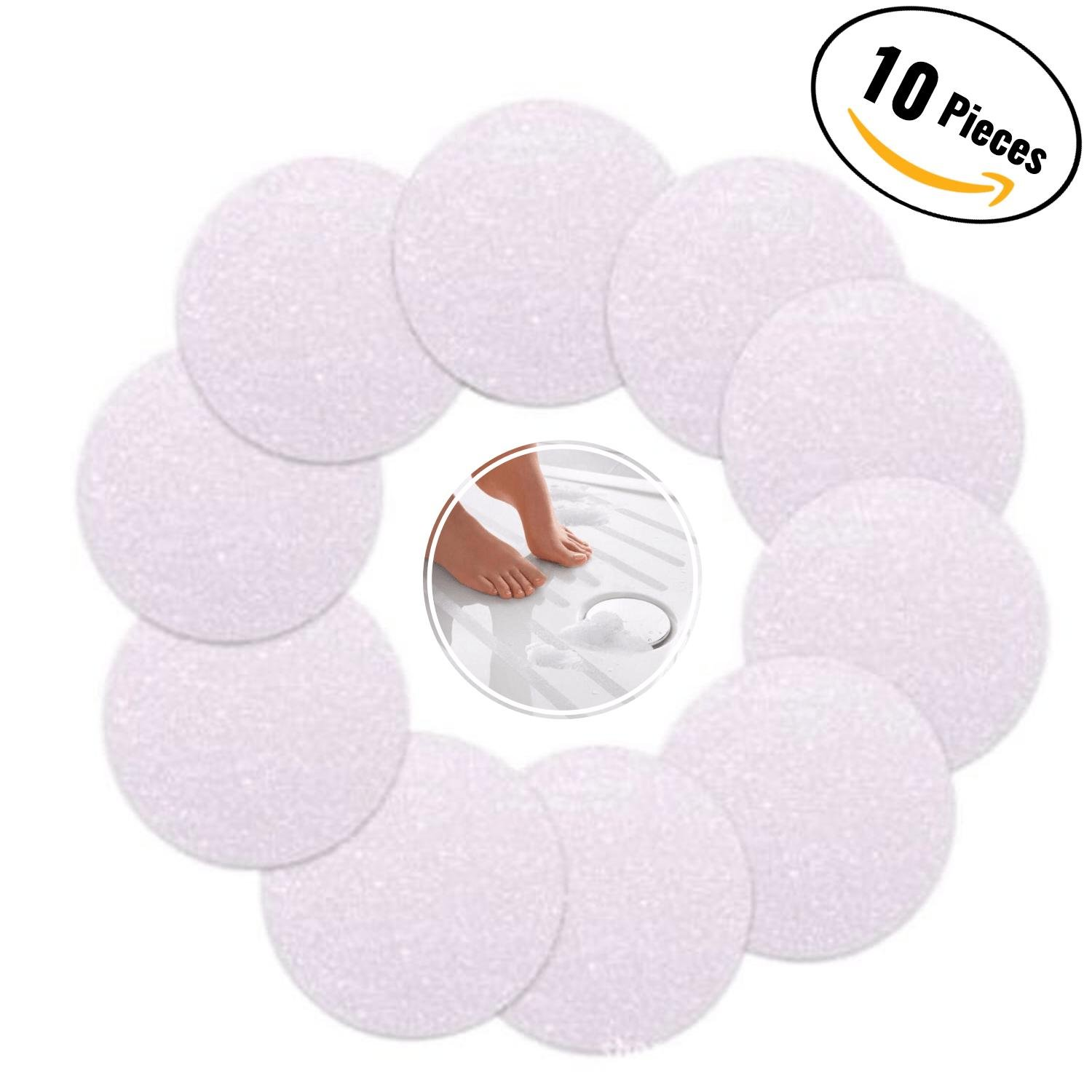 Non Slip Safety Shower Grip Treads To Prevent Slippery Surfaces In The Bathtub 10 Clear PEVA Discs Anti-Slip Stickers