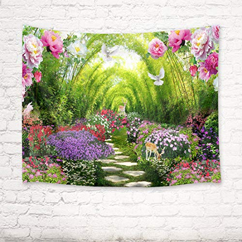 HVEST Spring Scenery Tapestry Deer Dove and Blooming Flowers in Garden Wall Hanging Fairy Tale Tapestries for Kids Bedroom Living Room Dorm Party Decor,60Wx40H inches