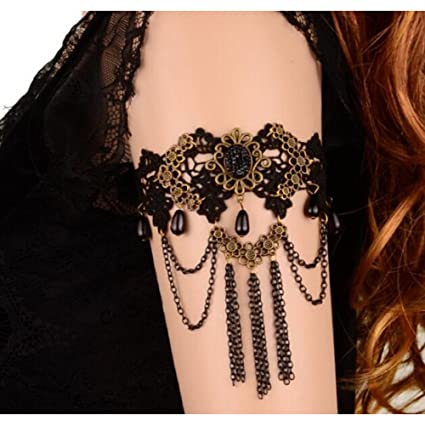 Image Unavailable. Image not available for. Color  Dongcrystal Handcraft  Victorian Style Black Lace Upper Arm Cuff Armlet ... 95c0027306fc