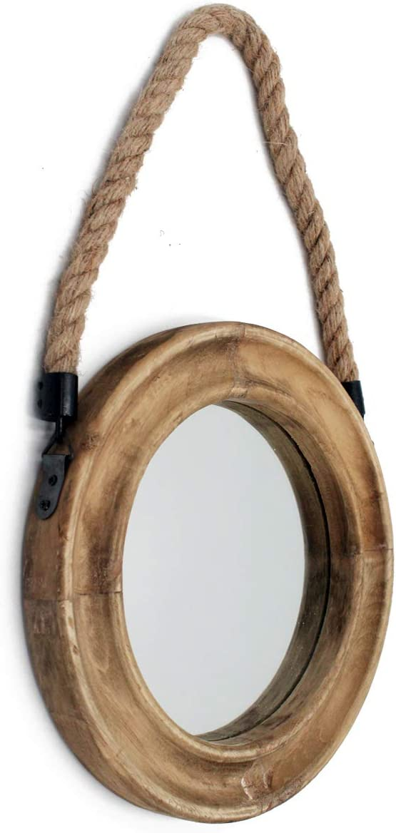 Funly mee Rustic Round Decorative Mirror with Solid Wood Frame Rope Hanging,Farmhouse Antique Wall Decor 9.9X9.9in
