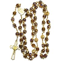 Blue White Style St Benedict Gold Plated Brown Crystals Rosary Beads Miraculous Medal Catholic