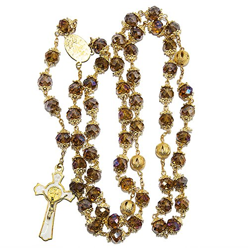 Blue White Style St Benedict Gold Plated Brown Crystals Rosary Beads Miraculous Medal Catholic by Blue White Style