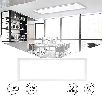 HOMEDEMO LED Panel Deckenleuchte 120x30cm Ultraslim Modern Deckenlampe für  Schlafzimmer Küche Flur Wohnzimmer mit Befestigungsmaterial und Trafo (40W  ...