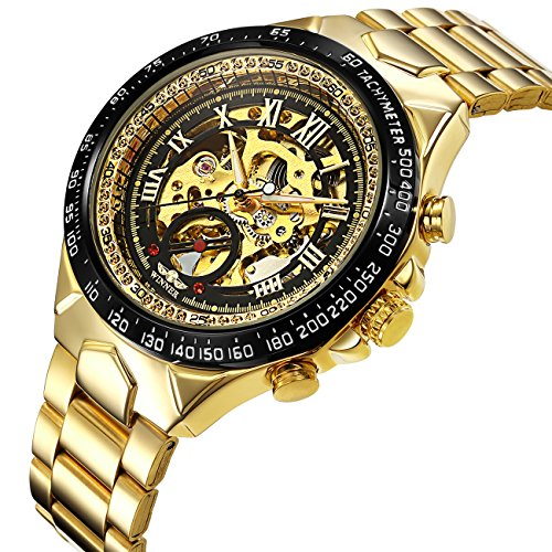 - Luxury Skeleton Mechanical Watches Men Gold Stainless Steel Bracelet,Dress Automatic Hand-Wind Wrist Watch