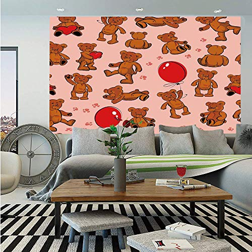 (SoSung Kids Animal Wall Mural,Vintage Teddy Bear Pattern Paws Footprint with Balloon and Hearts Print,Self-Adhesive Large Wallpaper for Home Decor 83x120 inches,)
