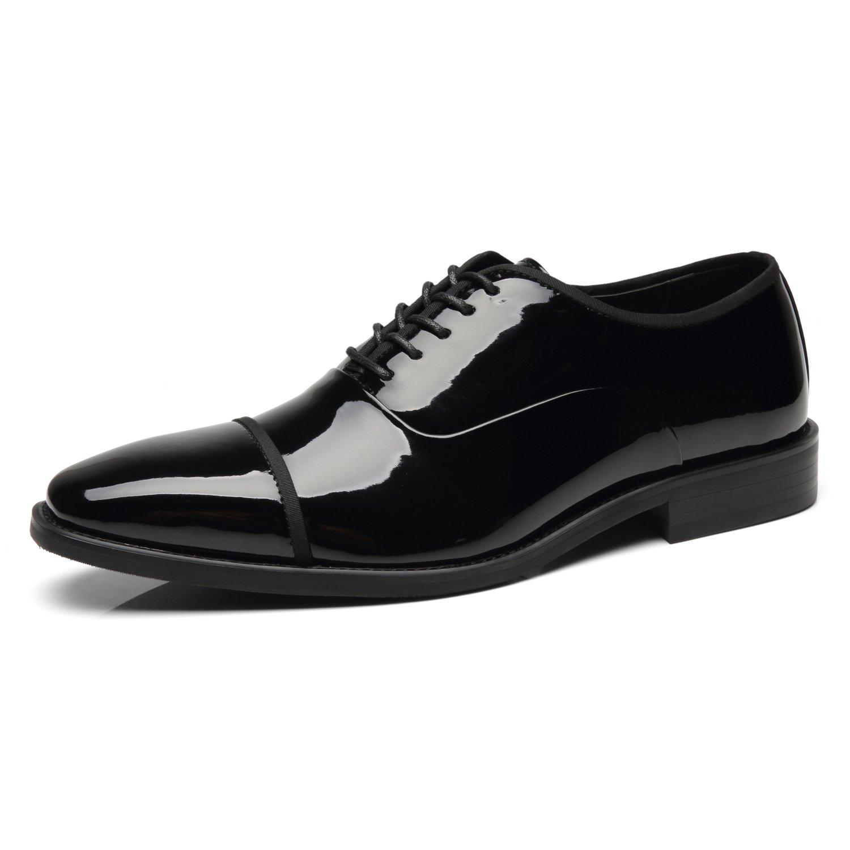 Faranzi Patent Leather Oxford Shoes for Men Cap Toe Lace up Tuxedo Shoes Zapatos de Hombre Comfortable Classic Modern Formal Business Wedding Shoes